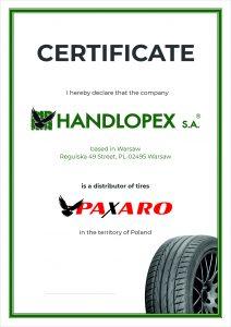 Handlopex Paxaro Certifikát