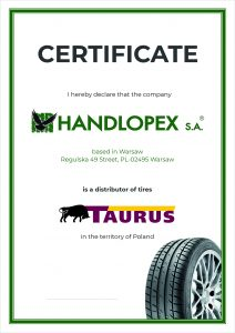 Handlopex Taurus Certifikát