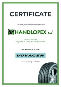 Handlopex Voyager Certifikát